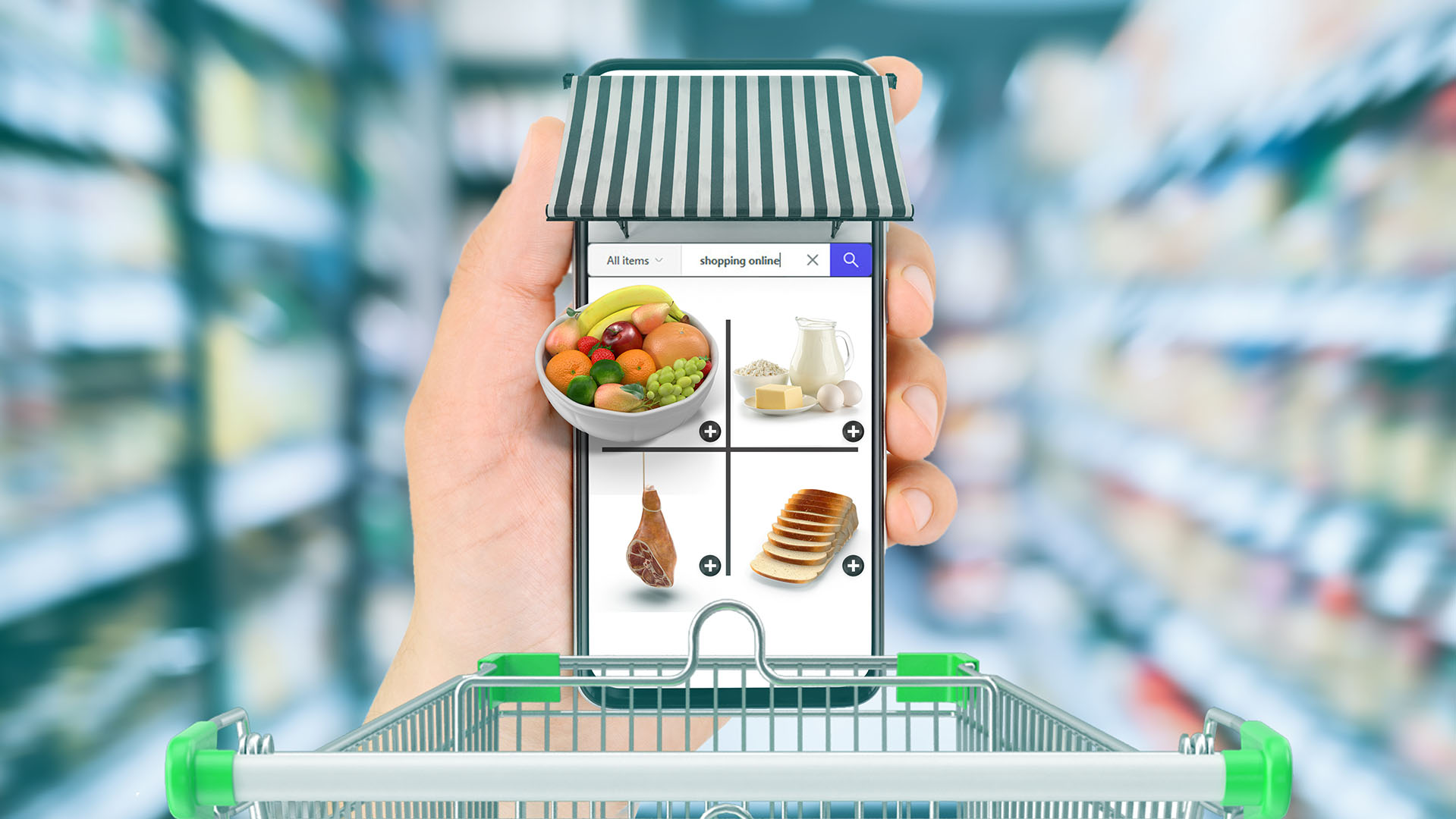 new normal Futuristic Technology in smart retail industrial concept using artificial intelligence, machine learning, digital twin, 5g, augmented mixed virtual rality, robot in corona virus spread
